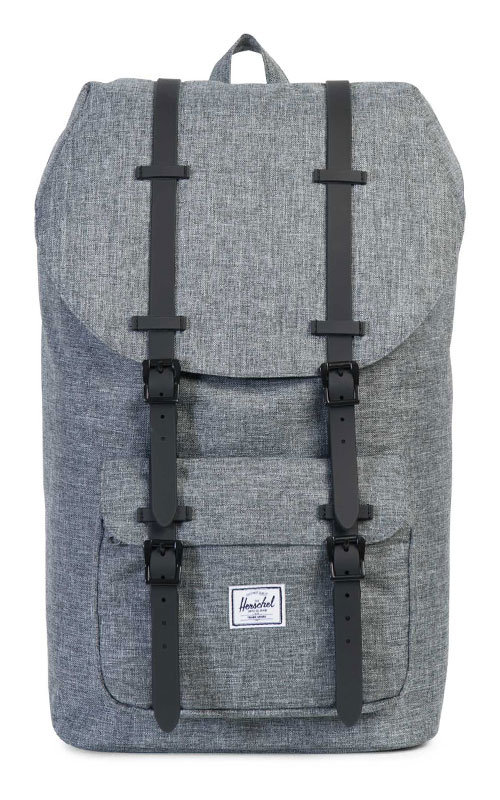herschel little america backpack raven crosshatch black rubber vintage. Black Bedroom Furniture Sets. Home Design Ideas