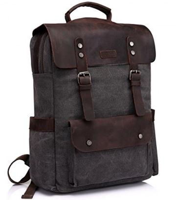 Vaschy Vintage Rucksack aus Canvas und Leder